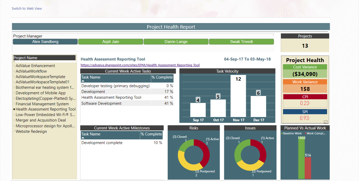 Project Manager Dashboard