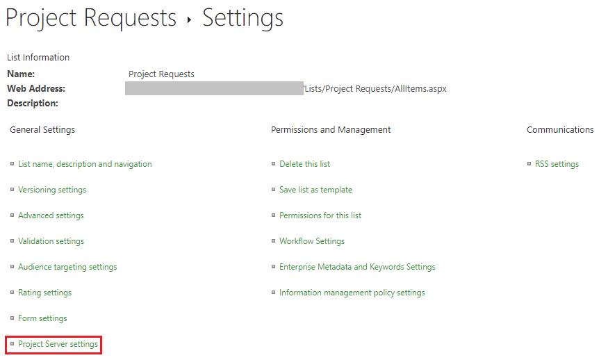 Project Server settings