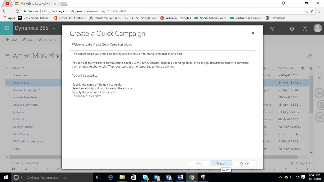 Quick Campaign wizard in dynamic crm