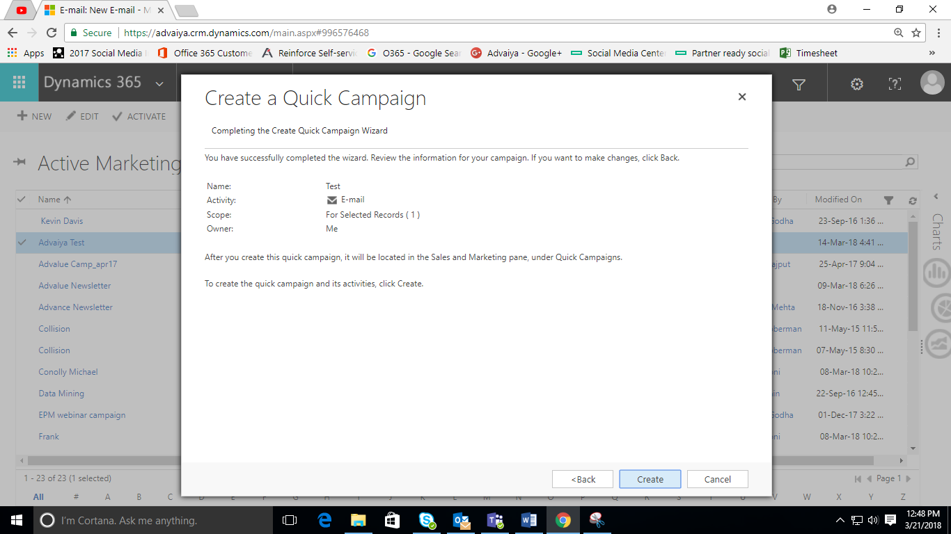 Quick Campaigns in dynamic crm