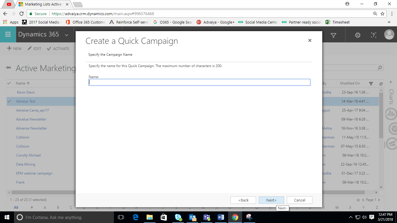 email campaign Name in dynamic crm