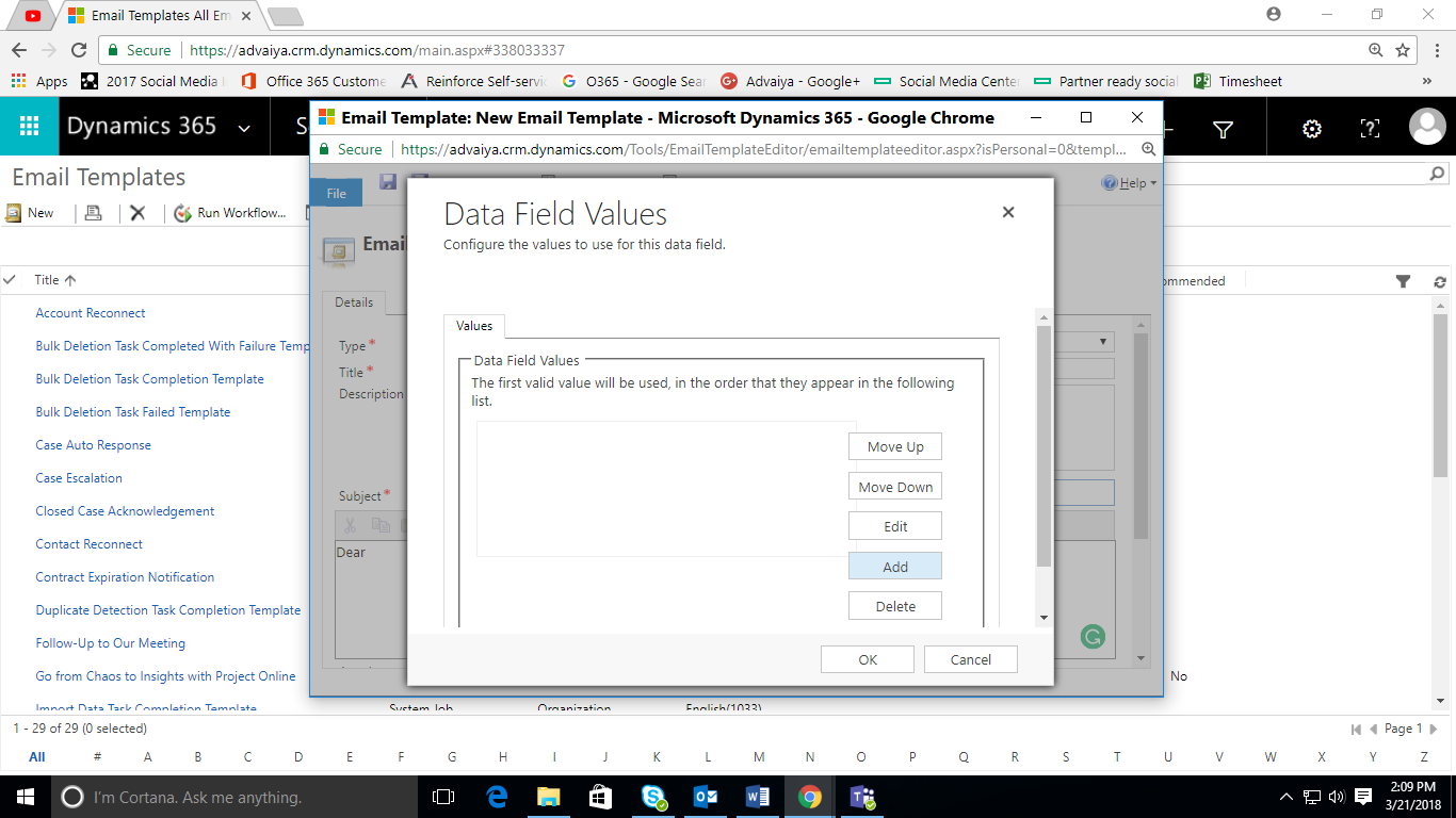 email template data field values dialogue