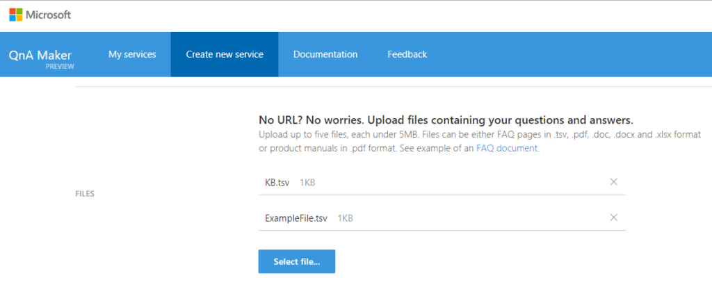 select file in QnA maker